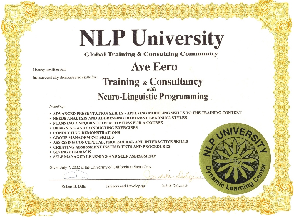 Ave Eero NLP Trainer sert